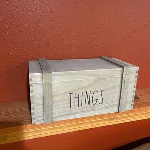 "Rae Dunn ""things"" storage trunk."